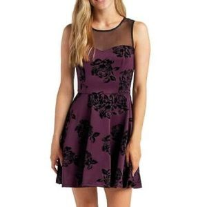 TRIXXI FLOCKED Fit & Flared Purple Velvet Dress